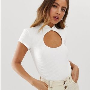 Bershka mandarin collar ribbed top
